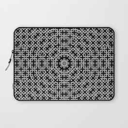 Trendy geometric weave patterns in grey tones and black Laptop Sleeve