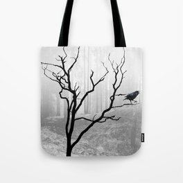 Black Crow in Foggy Forest A118 Tote Bag