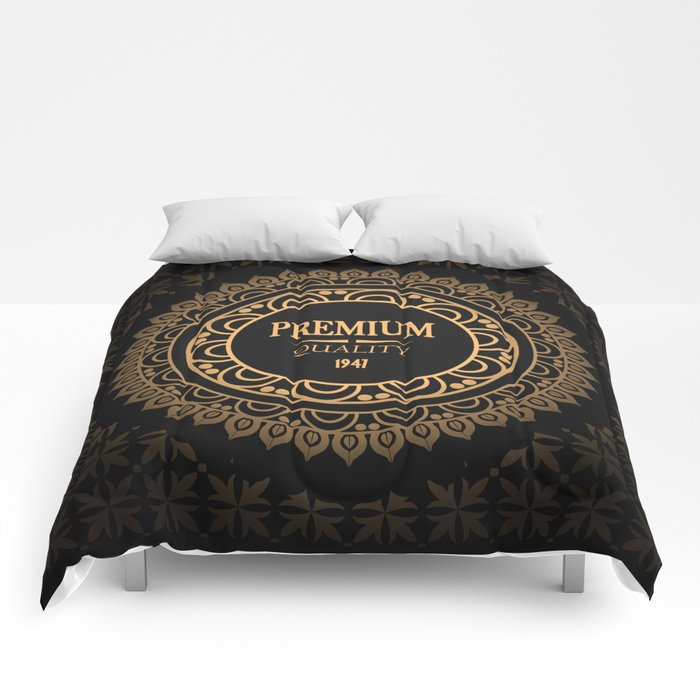 Best choice vintage golden label Premium Quality, vector illustration with gradient and seamless pat Comforters