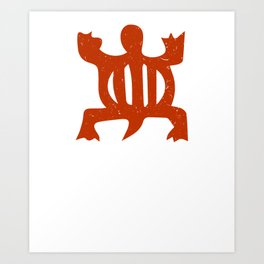 "Denkyem ""Crocodile"" | African Symbol of adaptability in African Orange Art Print"