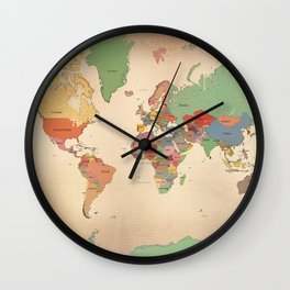 Mercator Map Modern Wall Clock