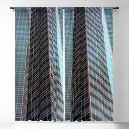 Blue Black Grey Glass Skyscraper Architecture Blackout Curtain