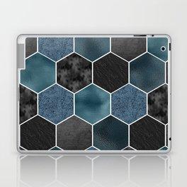 Midnight marble hexagons Laptop & iPad Skin