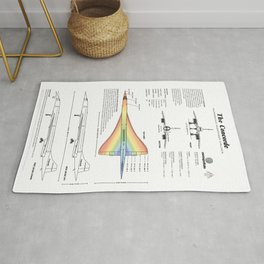 Concorde Supersonic Airliner Blueprint (white) Rug