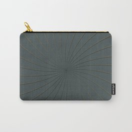 Night Watch PPGs Color of the Year 2019 and Gold Thin Striped Circle 3D Pinwheel Carry-All Pouch