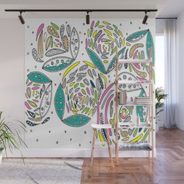 Stylish White Floral Wall Mural