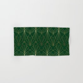 Art Deco in Gold & Green - Large Scale Hand & Bath Towel