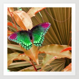 Copper Foliage and Green  Madam Butterfly  Art Print
