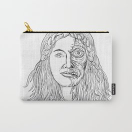 Norse Goddess Hel Face Front Drawing Black and White Carry-All Pouch