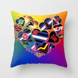 BDSM Pride Heart - Kinky Community Flags Throw Pillow