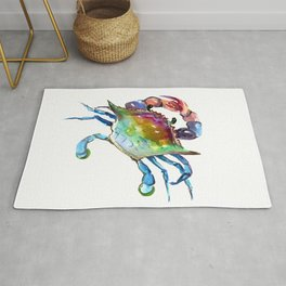Crab, Turquoise, Olive Green Purple Sea world artwork Rug