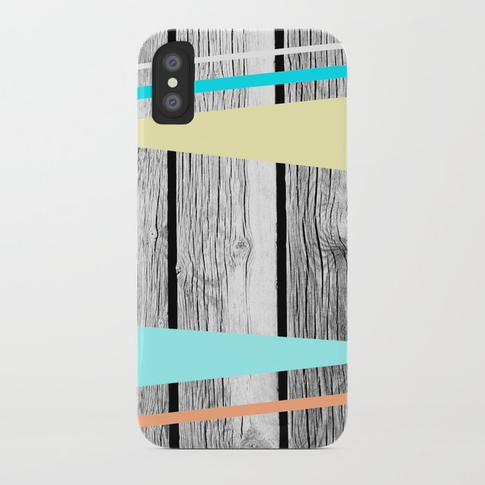 Colored arrows on wood texture iPhone Case