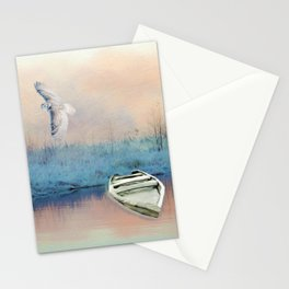 Snowy Owl and Winter Pond Stationery Cards