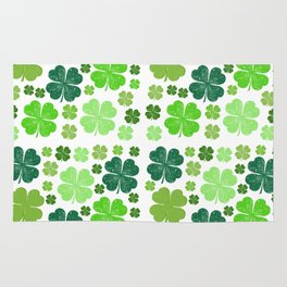 Saint Patrick's Day, Clovers - Green White Rug