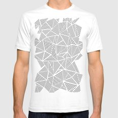 Abstraction Linear Inverted White SMALL Mens Fitted Tee