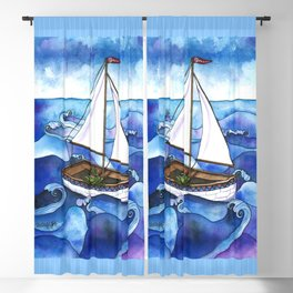 Froggy Goes Sailing Blackout Curtain
