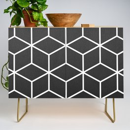 Charcoal and White - Geometric Textured Cube Design Credenza