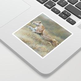 On Target - Lioness by Alan M Hunt Sticker