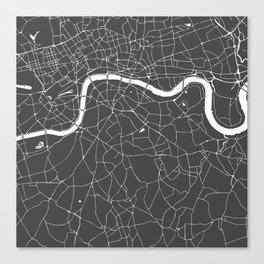 Gray on White London Street Map Canvas Print
