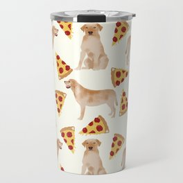 yellow lab pizza dog breed pet portrait gifts for labrador retriever lovers Travel Mug