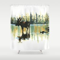 moose Shower Curtains featuring Moose by kenmeyerjr