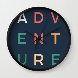Adventure typography Wall Clock