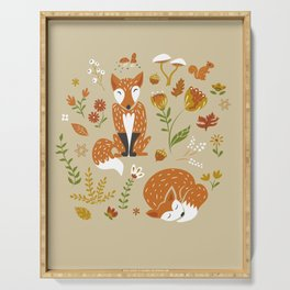 Foxes with Fall Foliage Serving Tray