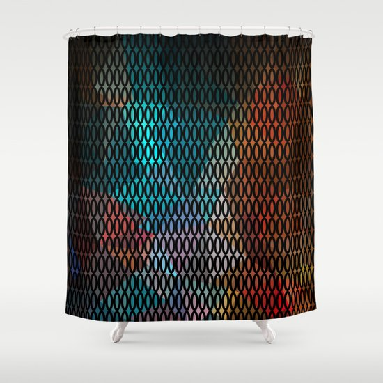Abstract background of triangles polygon print. Bright dark design colors Shower Curtain
