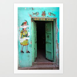 Door of a house in Udaipur, india Art Print