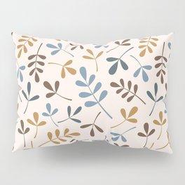 Assorted Leaf Silhouettes Ptn Blues Brwn Gld Crm Pillow Sham