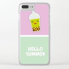 Hello Summer bright tropical card, pineapple, smoothie cup, ice cream, bubble tea. Kawaii cute face. Clear iPhone Case