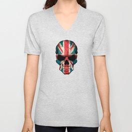 British Flag Skull on Black Unisex V-Neck