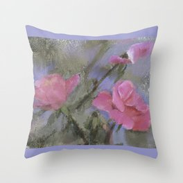 Dora Crowell's Summer Roses Digital Watercolor Throw Pillow