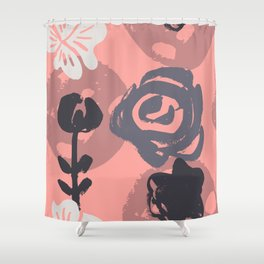 Abstract Leaves and Flowers I Shower Curtain