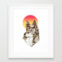 kitsune Framed Art Prints featuring Kitsune by South Spire Seven
