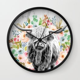 Highland Cow With Flowers on Marble Black and White Wall Clock