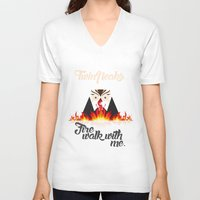 twin peaks V-neck T-shirts featuring Twin peaks by sgrunfo