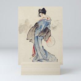 Japanese Ukyio-e style illustration of a Japanese woman in kimono,  Japan old art Mini Art Print