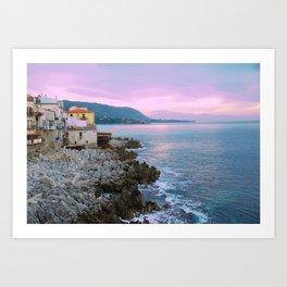 Cefalu Italy Coast Sunset Art Print