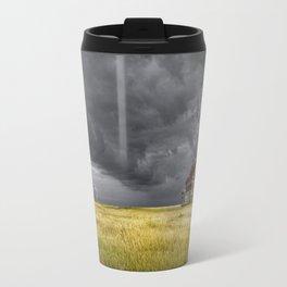 Thunderstorm on the Prairie with abandoned farmhouse Travel Mug