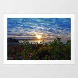 Ocean Photograph Sunrise with Flowers  Art Print
