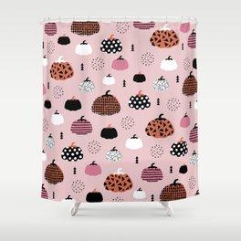 Halloween pumpkin patch harvest autumn garden pink orange girls pattern design print Shower Curtain