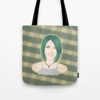 jenna kutcher Tote Bags featuring Jenna McDougall by attkcherry