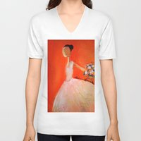 ballerina V-neck T-shirts featuring Ballerina by Madison R. Leavelle