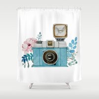 vintage camera Shower Curtains featuring Camera Vintage by Celosa Art
