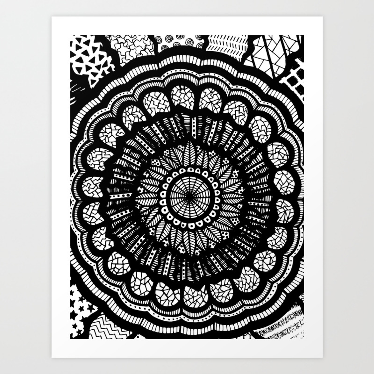 Black And White Freehand Drawing Mandala Design Art Print By