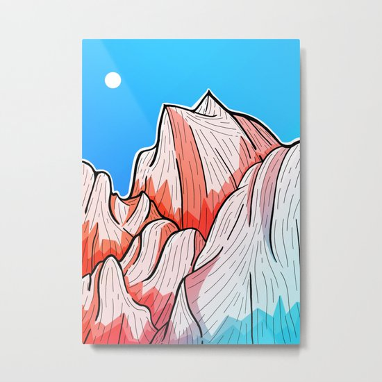 The red and blue tipped mountains Metal Print