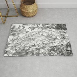 PRETTY SPRING DOGWOOD BLOSSOMS IN BLACK AND WHITE Rug