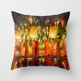 Lantern Wish Festival, Night portrait painting Throw Pillow