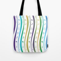 music notes Tote Bags featuring Seamless music notes pattern by IB Photography